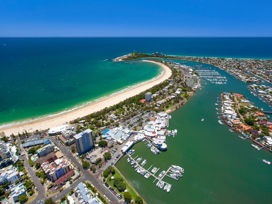 sky perspective of Mooloolaba beach